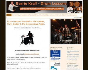 Drum Lessons Manchester Web Design Screenshot